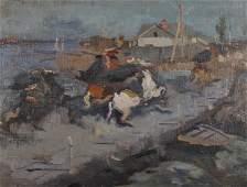Late 19th Century European School Study of Horses