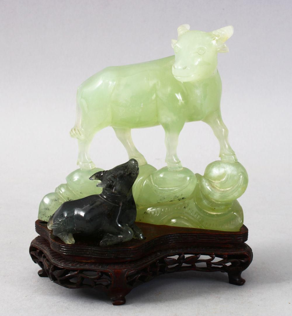A GOOD CHINESE CARVED JADE / HARDSTONE FIGURE OF A COW