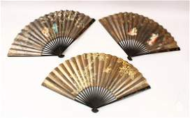THREE JAPANESE MEIJI PERIOD LACQUER PAINTED PAPER
