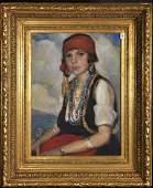 19th Century Irish School. Portrait of a Seated Gypsy