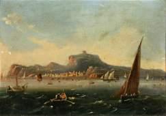 19th Century Italian School. Scene of a Busy Port with