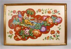 A LARGE CHINESE NEEDLEWORK FRAMED PICTURE depicting