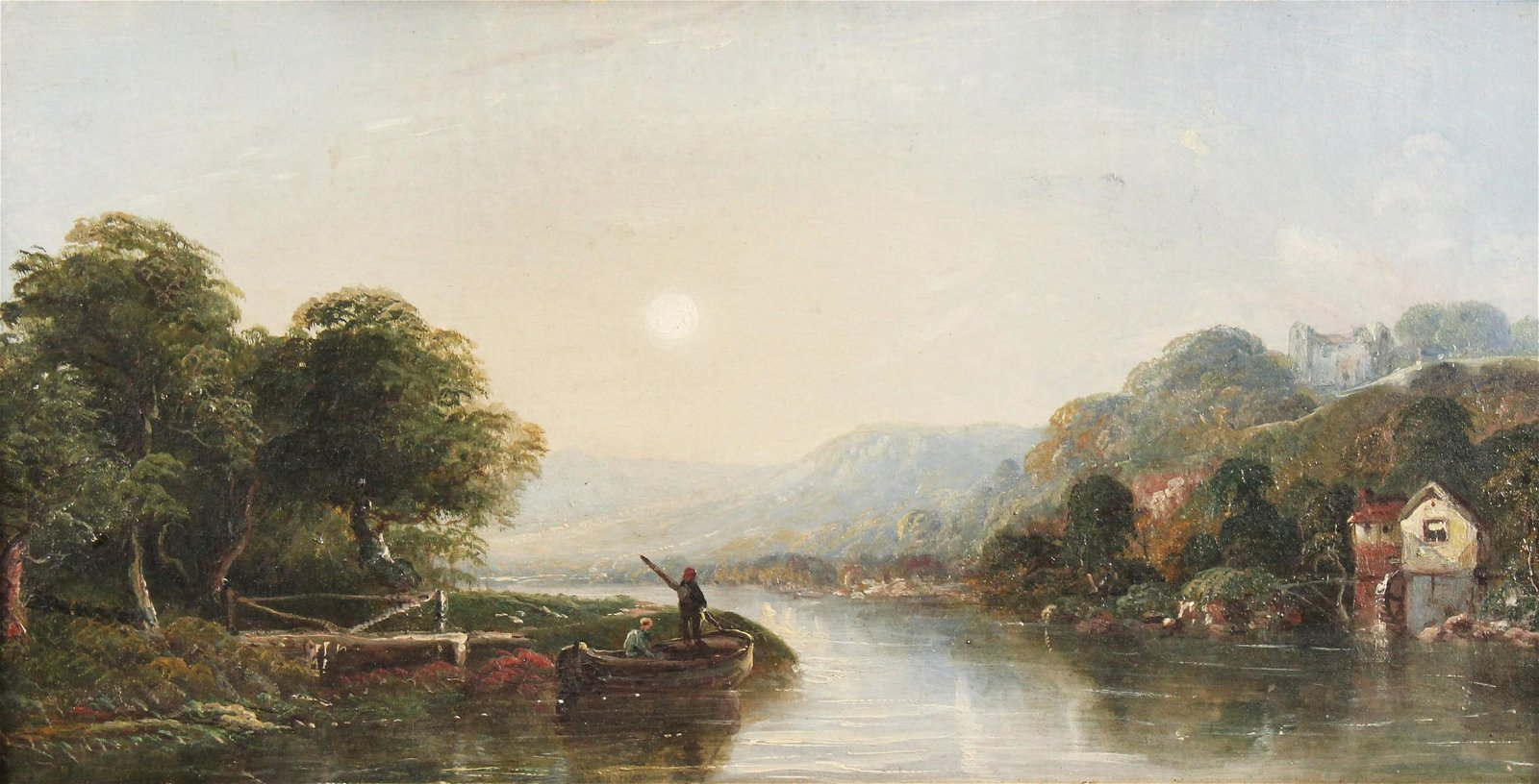 19th Century English School. Figures in a Boat Crossing