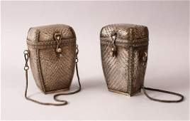 A GOOD PAIR OF JAPANESE MEIJI PERIOD SILVER WOVEN