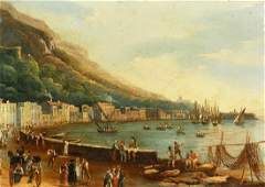 19th century Italian school. A scene of a busy port