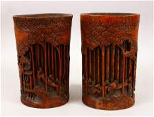 A GOOD PAIR OF 19TH CENTURY CHINESE BAMBOO BRUSH POTS,
