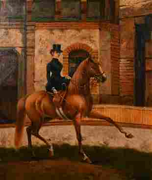 D. Martin (20th century), A lady riding side saddle on