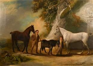 19th century English school, (William Mallon?), A scene