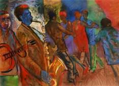 Sandy Esau (b.1968) South Africa, scene of figures