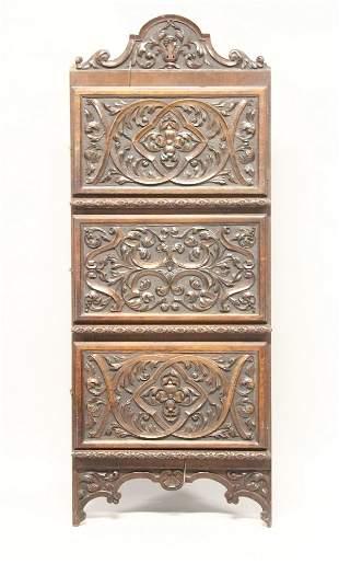 A LATE 19TH CENTURY WALNUT HANGING CORNER CUPBOARD,