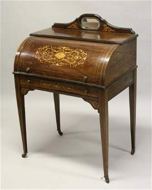 A LATE VICTORIAN ROSEWOOD AND MARQUETRY CYLINDER DESK,
