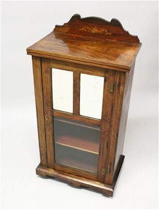 A VICTORIAN ROSEWOOD MUSIC CABINET, with a mirrored and