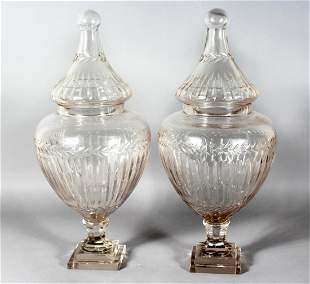 A GOOD LARGE PAIR OF CRYSTAL CUT SWEET JARS AND COVERS