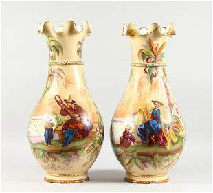 A LARGE PAIR OF LATE 19TH CENTURY CONTINENTAL PORCELAIN