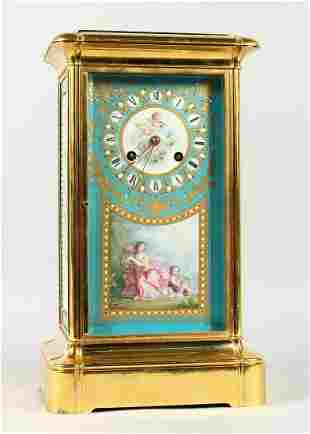 A SUPERB LARGE 19TH CENTURY FRENCH SEVRES MANTLE CLOCK,