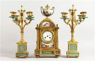 A SUPERB FRENCH 19TH CENTURY CLOCK GARNITURE by RAINGO