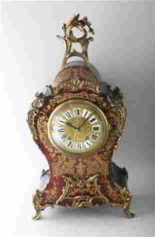 A GOOD LARGE 19TH CENTURY BOULLE MANTLE CLOCK, in an