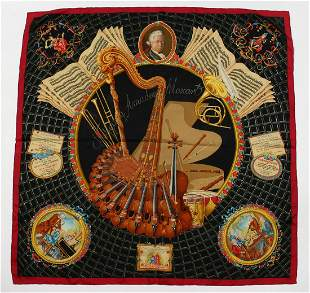 "A HERMES SILK SCARF ""MOZART"".  68ins x 68ins in an"