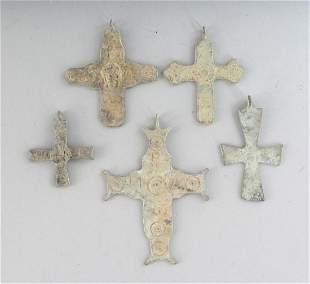 FIVE ROMAN CROSSES.  Various Sizes.