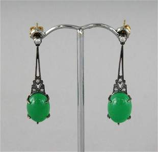 A PAIR OF 9CT GOLD AND SILVER SET JADE AND DIAMOND DROP