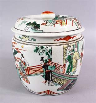 A CHINESE FAMILLE VERTE PORCELAIN JAR AND COVER,