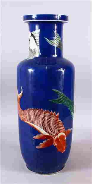 A LARGE CHINESE KANGXI POWDER BLUE PORCELAIN CARP VASE,
