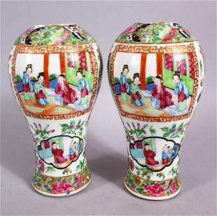 A PAIR OF 19TH CENTURY CHINESE FAMILLE ROSE CANTON