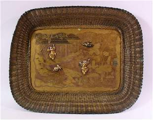 AN EARLY 20TH CENTURY JAPANESE MIXED METAL TRAY, etched