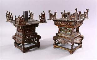 A MATCHED PAIR OF 19TH CENTURY CHINESE SPELTER PAGODA