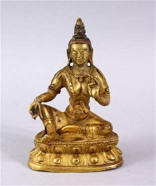 A GOOD CHINESE QING DYNASTY GILT BRONZE FIGURE OF