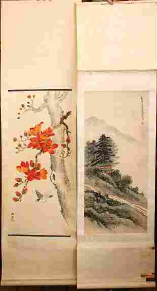 FOUR CHINESE SCROLL PAINTINGS, early 20th Century and