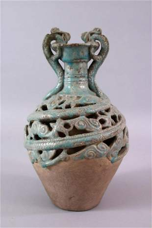 A CHINESE TANG STYLE CELEDON GLAZED DOUBLE WALLED