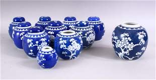 A COLLECTION OF ELEVEN 20TH CENTURY CHINESE BLUE AND