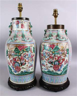A GOOD PAIR OF 19TH CENTURY CANTON CHINESE FAMILLE ROSE