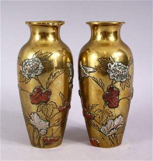 A PAIR OF JAPANESE MEIJI MIXED METAL BRONZE VASES, on