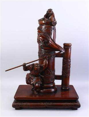 A LARGE GOOD QUALITY JAPANESE MEIJI PERIOD CARVED HARD
