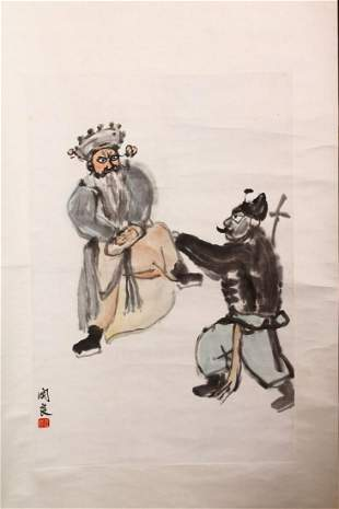 A 20TH CENTURY SCROLL PAINTING, two figures having a