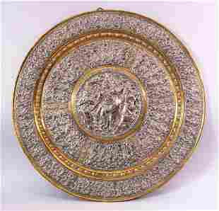 A LATE 19TH CENTURY INDIAN TANJORE SILVER AND COPPER