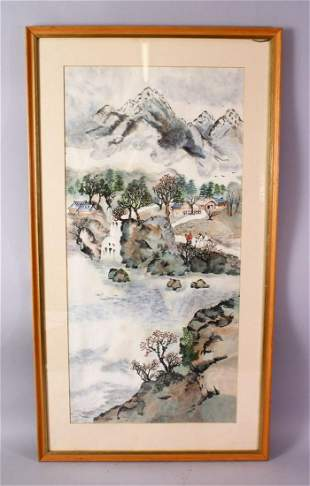 A CHINESE FRAMED PAINTING OF A NATIVE LANDSCAPE SCENE,