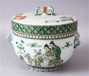 A CHINESE FAMILLE VERTE PORCELAIN BOWL & COVER,