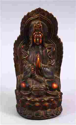 A GOOD CHINESE CARVED IVORY STYLE FIGURE OF SEATED