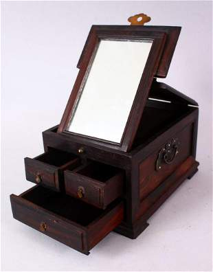 A CHINESE HARDWOOD SMALL DRESSING TABLE BOX, with