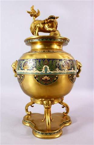 A LARGE CHINESE BRONZE & CLOISONNE TRIPOD KORO & COVER,