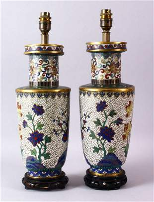 A PAIR OF 19TH CENTURY CHINESE CLOISONNE VASES / LAMPS,