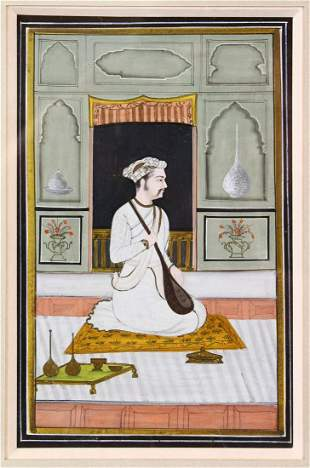AN INDIAN MINIATURE PAINTING depicting a seated prince