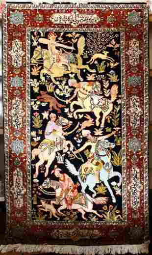A GOOD PERSIAN CARPET decorated with a hunting scene,
