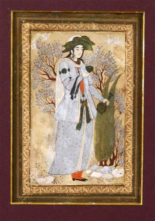 A SAFAVID MINIATURE PAINTING OF A PRINCE in a garden