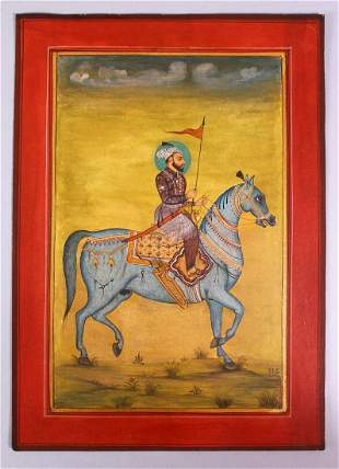A FINE INDIAN SIKH SCHOOL MINIATURE PAINTING OF A