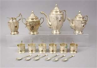A LARGE SILVER PERSIAN TEA SET WITH KUWAITI EMBLEM,