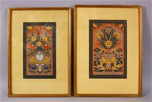 A PAIR OF INDIAN MINIATURE FRAMED PAINTINGS, each